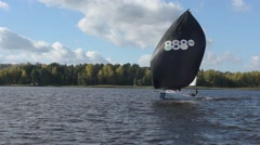 Sailing Boat Navigating With Open Sails Stock Footage