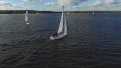 Aerial View Sailing Yacht Regatta Stock Footage