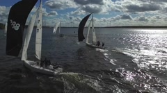 Aerial View Sailing Yacht Regatta Stock Footage