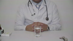 Professional doctor recommend water instead of drugs Stock Footage