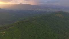 Ukrainian mountain sunset. Aerial view Stock Footage