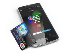 Mobile online shopping. E-commerce with smart phone and credit card isolated Piirros