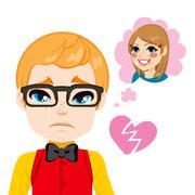 Boy Broken Heart Stock Illustration
