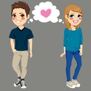 Teenagers In Love Stock Illustration