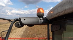 Rotating beacon Agriculture machine  ,Soybean Harvest  Stock Footage