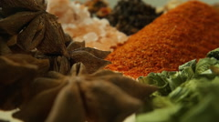 Fragrant, aromatic, natural and good for health, spices lie on the table. Macro Stock Footage