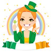 Saint Patrick Leprechaun Girl Banner Stock Illustration