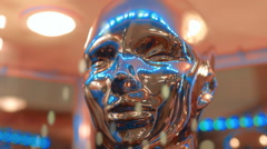 Silver color, mirror surfaces of face humanoid ( human ) reflects lights Stock Footage