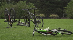 Bike Cycle sport   with cyclists on background Stock Footage