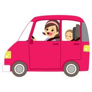 Mom Driving Car With Baby Stock Illustration