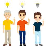 Three Generation Idea Light Bulb Stock Illustration
