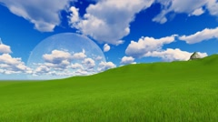 Timelapse windy clouds over the green grass field. Moon Full HD Stock Footage