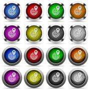 GPS location glossy button set Piirros