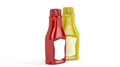 Ketchup and mustard bottles on white Stock Footage