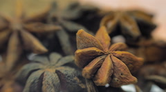 Fragrant, aromatic, natural and good for health anise star-shaped lie on a table Stock Footage