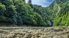 Timelapse of river and mountain range Pieniny, dolly slider. Stock Footage