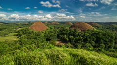 Panorama of The Chocolate Hills. Bohol, Philippines. 4K TimeLapse - August 2016 Stock Footage
