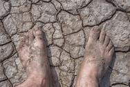 The cracked soil ground and man feet Stock Photos