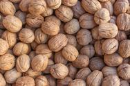 Walnuts. Background of walnuts Stock Photos