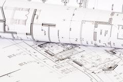 Part of the architectural design of the house on paper Stock Photos