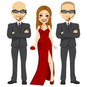 Bodyguards With Super Star Stock Illustration