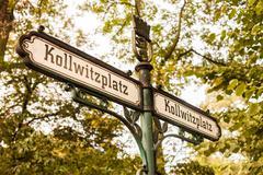 Kollwitzplatz sign, Prenzlauer Berg, Berlin Stock Photos