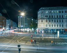 Berlin Rosenthaler Platz at night Stock Photos