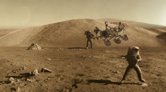 Astronauts party on mars surface with curiosity rover Stock Footage