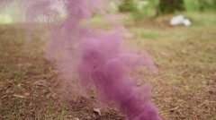 Purple smoke bomb smokes in the forest Stock Footage