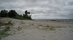 Stormy Beach Sky Wide Shot Stock Footage