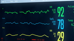 Medical ICU bedside monitor with patient's vital signs, person passing away Stock Footage