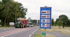 Germany and Netherlands border crossing Stock Footage