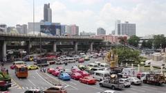 Big traffic flows always in the squares Bangkok Stock Footage