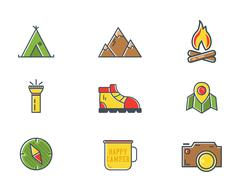 Summer and winter mountain explorer camp icons in flat style. Travel, hiking Stock Illustration