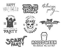 Halloween 2016 party vintage labels, tee designs with scary symbols - ghost, bat Stock Illustration