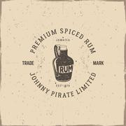Vintage handcrafted pirate rum emblem, alcohol label, logo. Isolated on a Stock Illustration