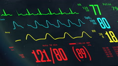 ICU monitor with stable vital signs, doctors monitoring patient's condition Stock Footage