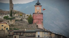 Medieval Tower in the Old Village of Tende in France Stock Footage