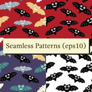 Halloween seamless patterns set with colorful bat Piirros