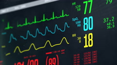 Normal vital signs on bedside ICU monitor, patient stable after heart surgery Stock Footage