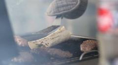 Cooking Turkish kyufta grilled Stock Footage