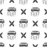 Surfing trip pattern design. Summer seamless with surfer van, surfboards Stock Illustration