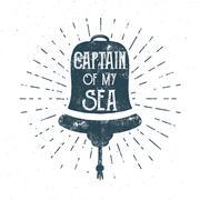 Retro ship bell tee design. Vintage sea label. Nautical emblem with inspiration Stock Illustration