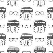 Surfing Seamless pattern with glass. Surfer van, glasses elements. rv wallpaper Stock Illustration