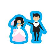 Flat web icon on white background bride and groom Stock Illustration