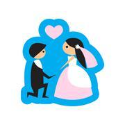 Flat web icon on white background bride and groom Stock Illustration