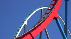 Theme Park Roller Coasters Stock Footage