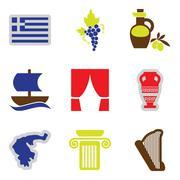 Set of flat web icons on white background Greece Piirros