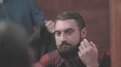 Happy lumberjack man touch beard mustache barbershop mirror HD slow motion video Stock Footage
