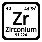 Periodic table element zirconium icon. Stock Illustration